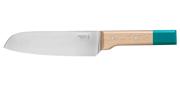 Couteau N°119 Santoku Pop (bleu canard) - Lame 170mm - Manche hêtre